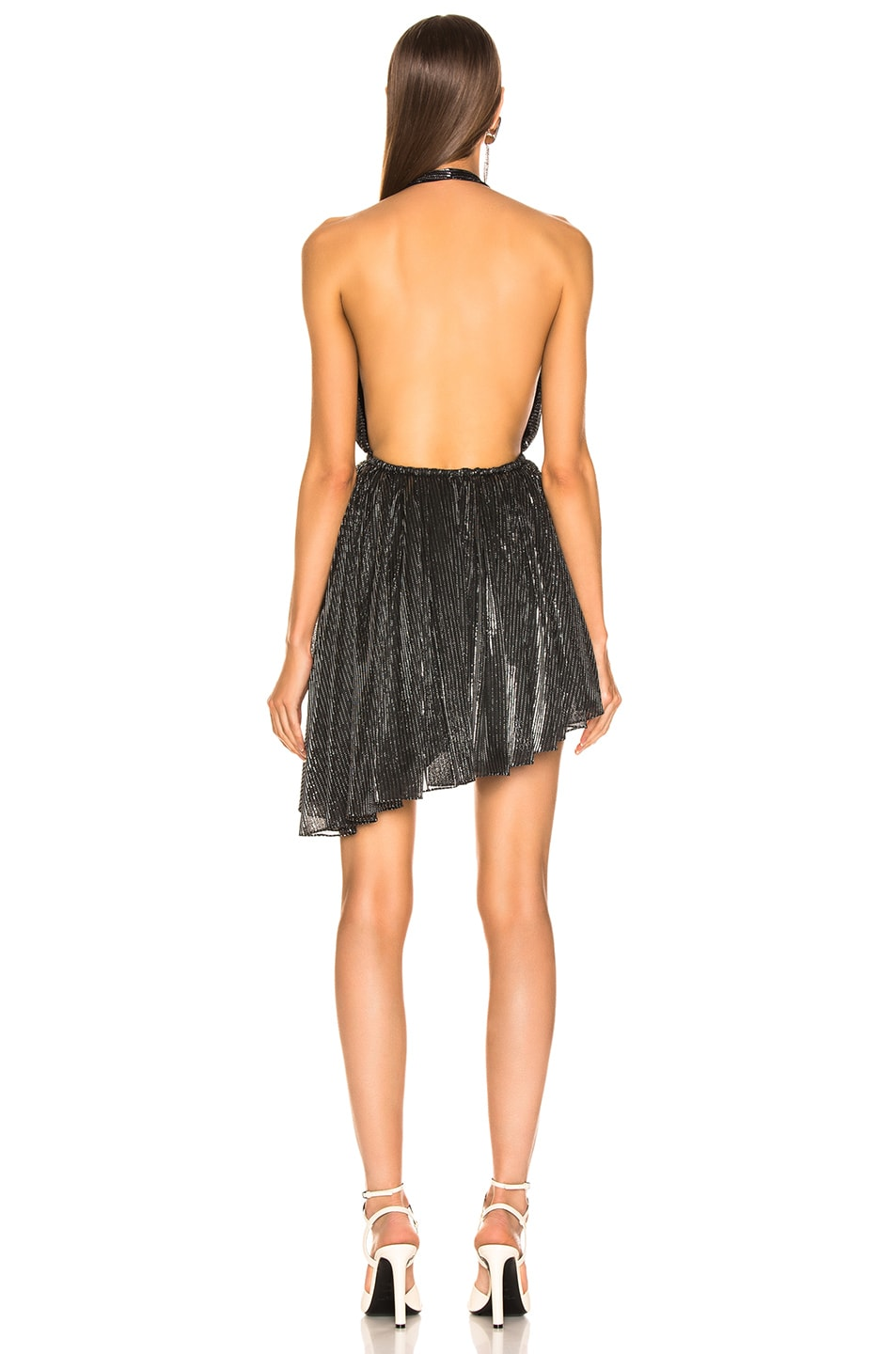 Image 4 of Saint Laurent Asymmetrical Plunging Mini Dress in Black & Silver