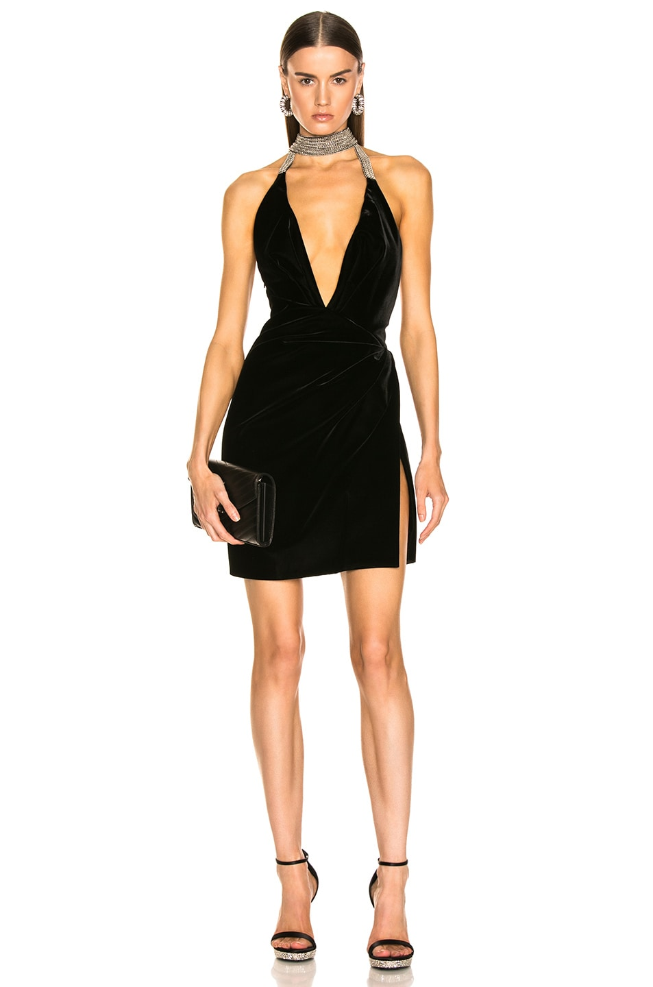 Image 1 of Saint Laurent Plunging Velvet Mini Dress in Black
