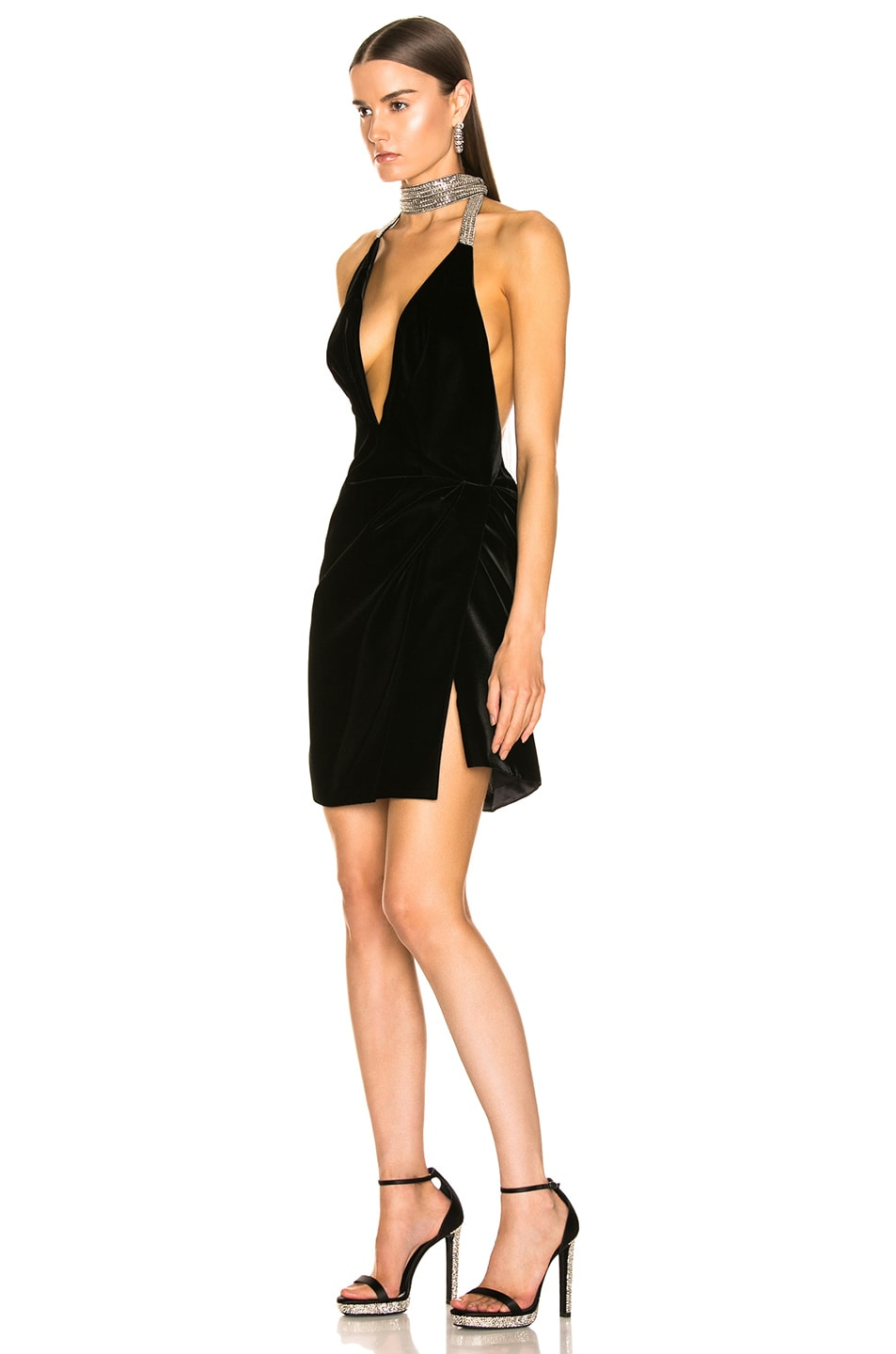 Image 3 of Saint Laurent Plunging Velvet Mini Dress in Black