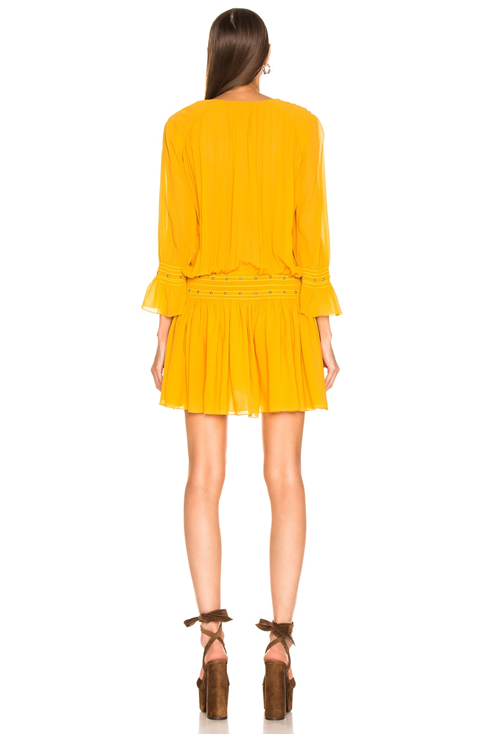 Image 3 of Saint Laurent Long Sleeve Mini Dress in Mimosa