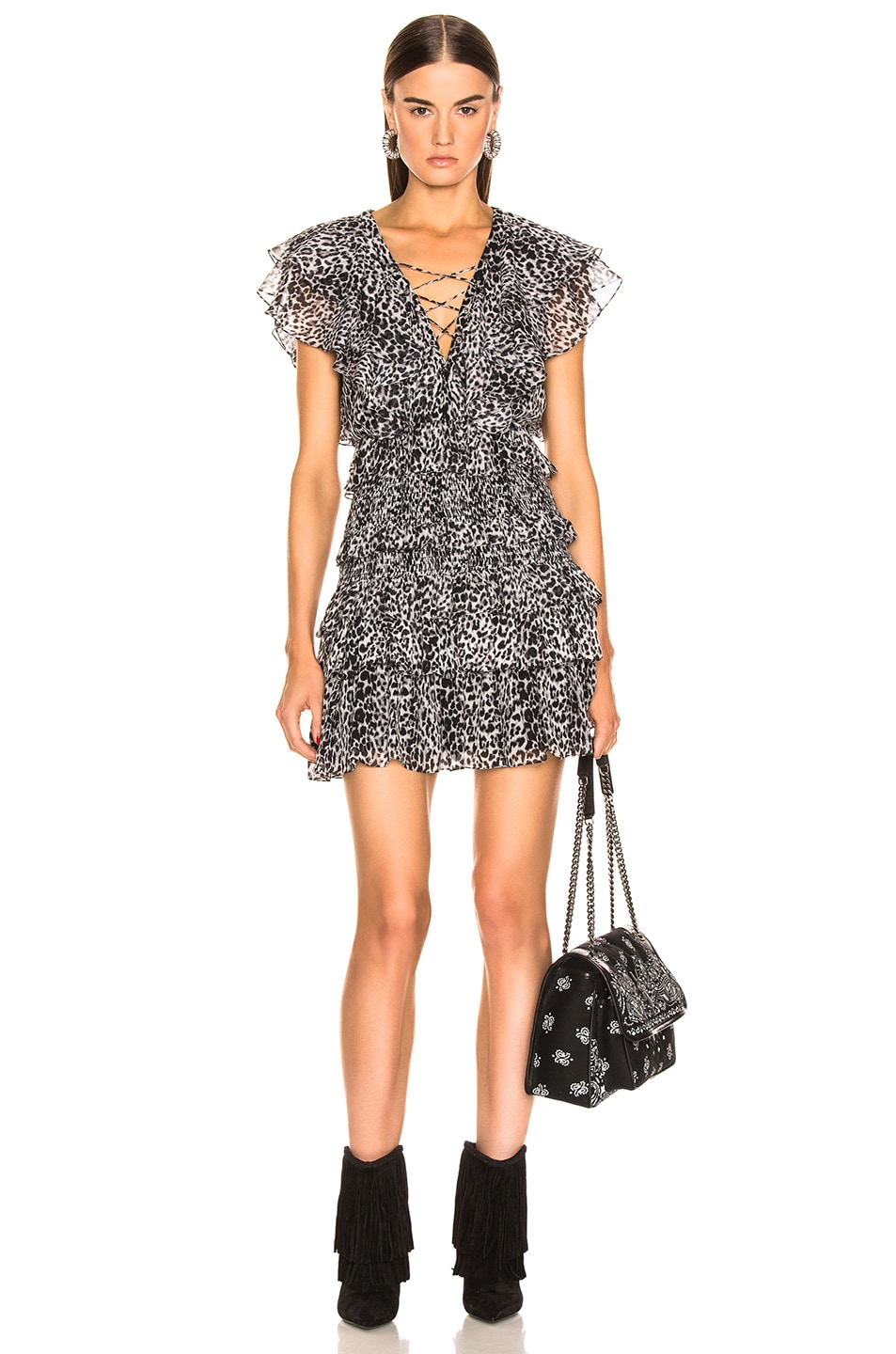 Image 1 of Saint Laurent Leopard Ruffle Dress in Black & Gray