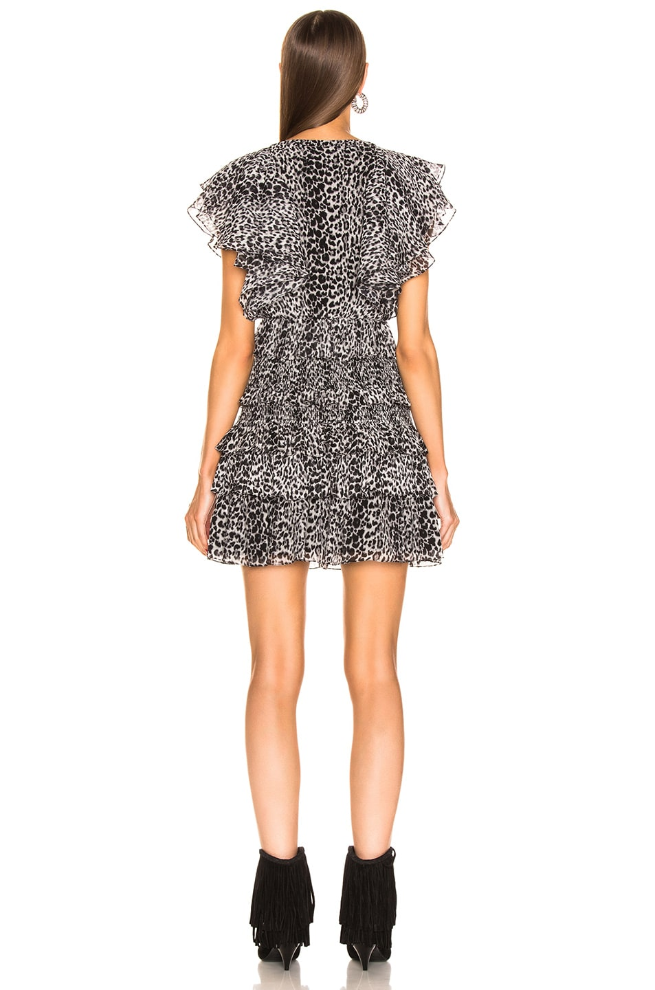 Image 3 of Saint Laurent Leopard Ruffle Dress in Black & Gray