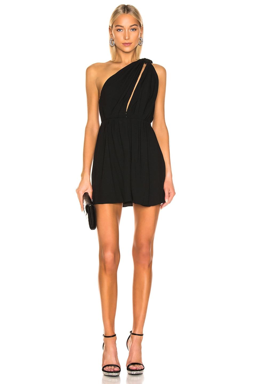 Image 1 of Saint Laurent One Shoulder Mini Dress in Black