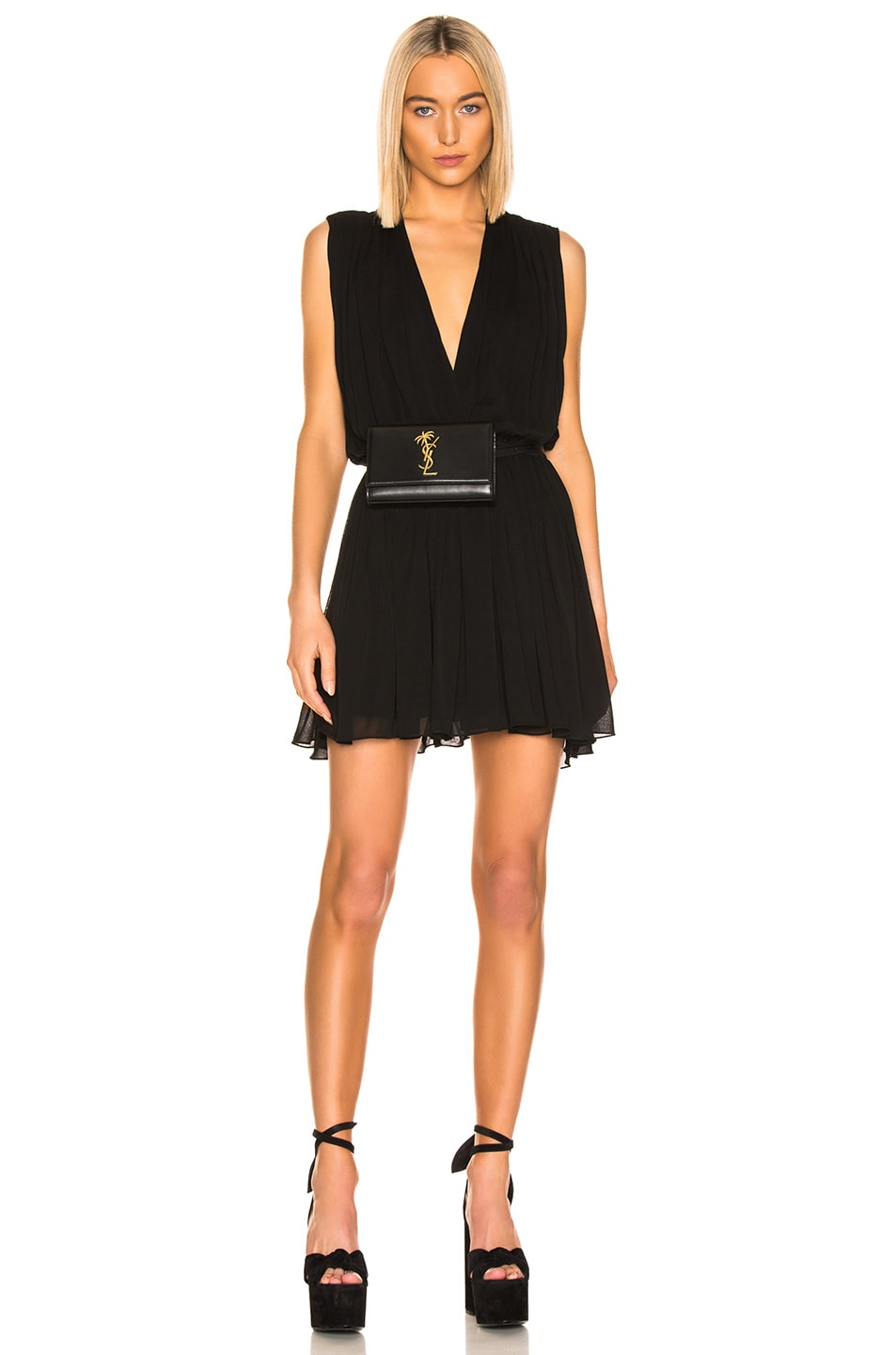 Image 1 of Saint Laurent Drape Dress in Black