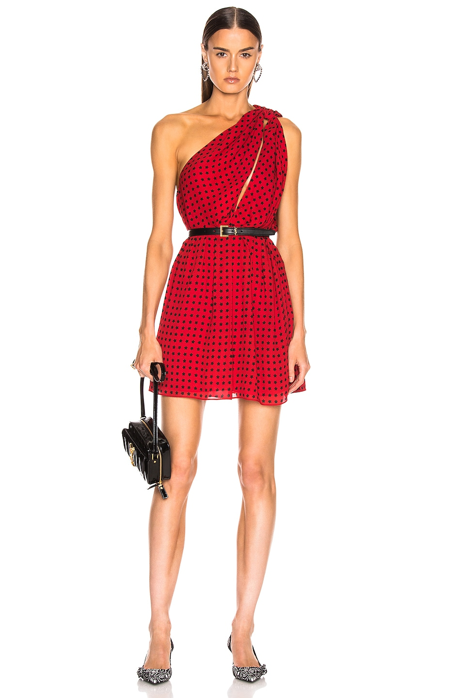 Image 1 of Saint Laurent Star One Shoulder Dress in Red & Black