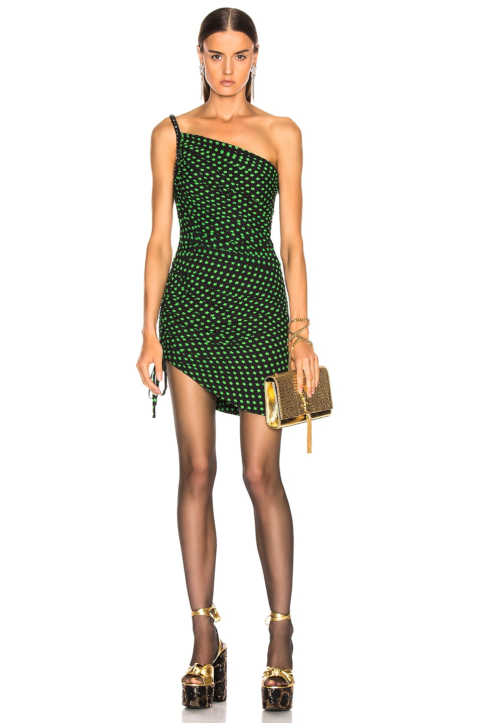 Image 1 of Saint Laurent One Shoulder Dress in Black & Apple Green