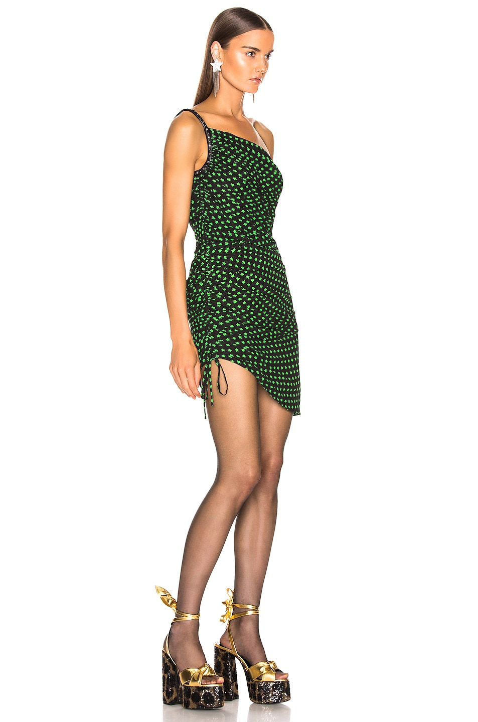 Image 2 of Saint Laurent One Shoulder Dress in Black & Apple Green