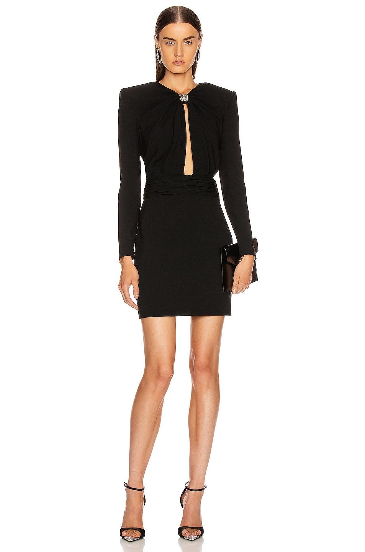 Image 1 of Saint Laurent Long Sleeve Keyhole Mini Dress in Black