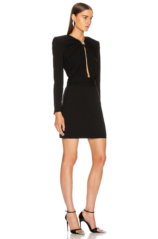 Image 2 of Saint Laurent Long Sleeve Keyhole Mini Dress in Black