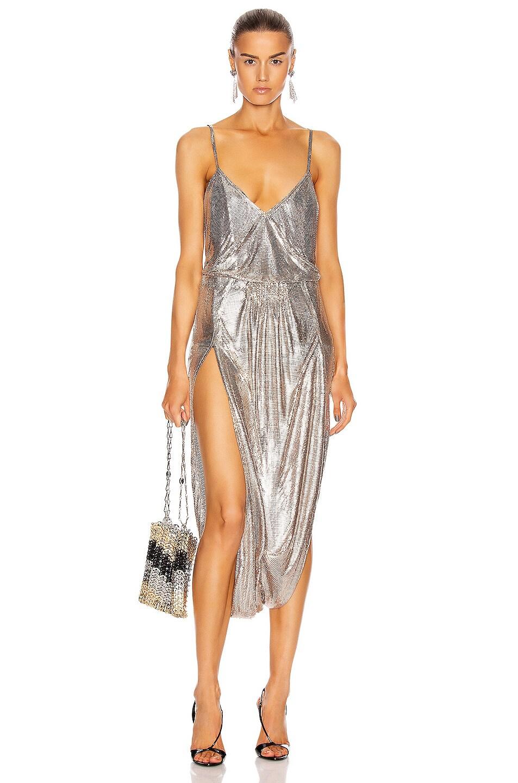 Image 1 of Saint Laurent Strappy Metallic Dress in Gold