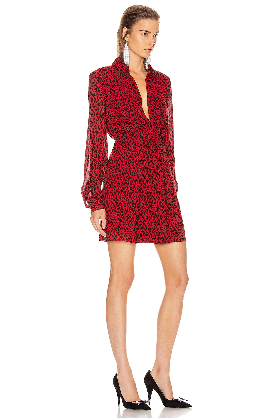 Image 2 of Saint Laurent Long Sleeve Leopard Mini Dress in Red & Black
