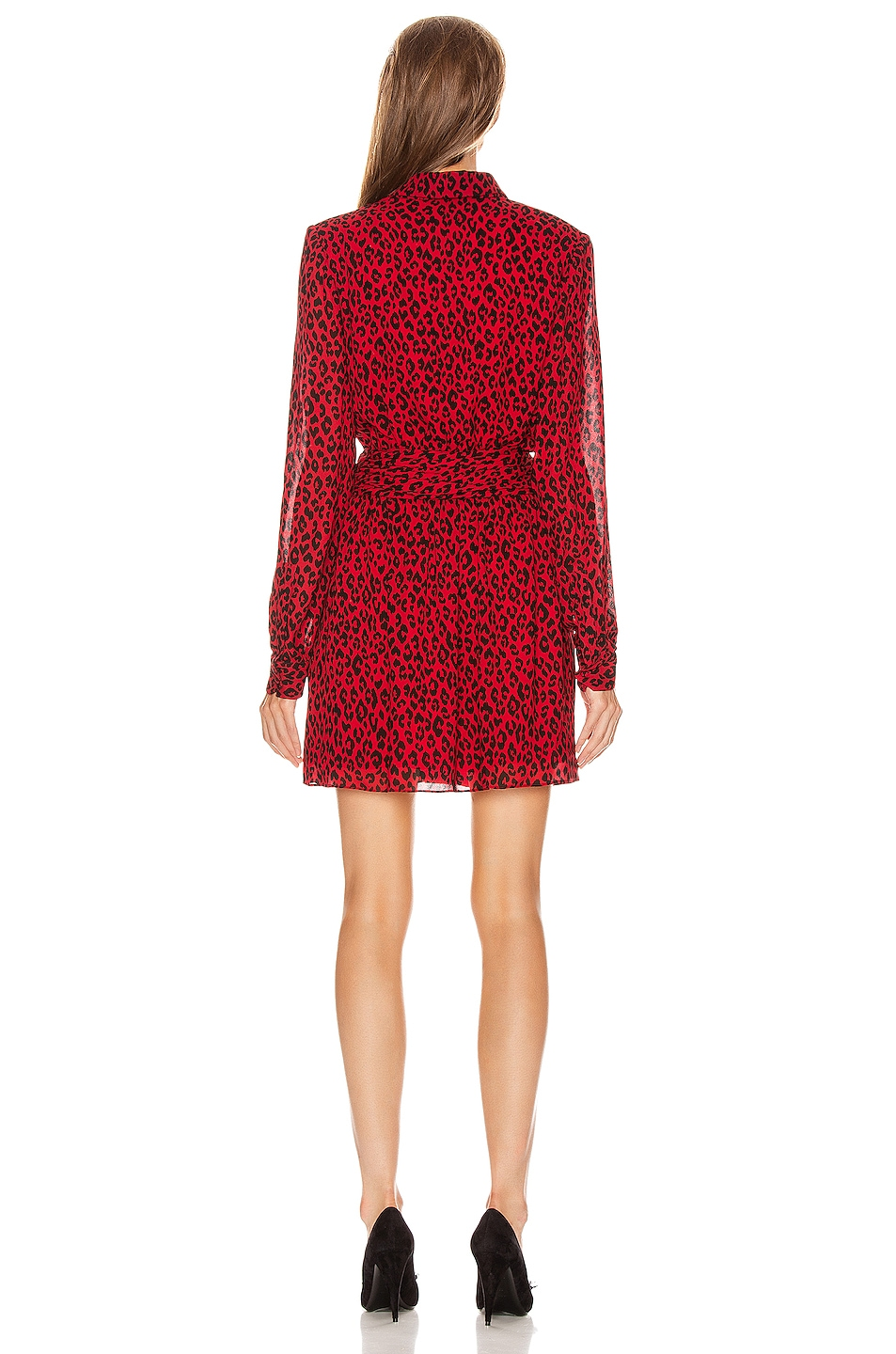Image 3 of Saint Laurent Long Sleeve Leopard Mini Dress in Red & Black