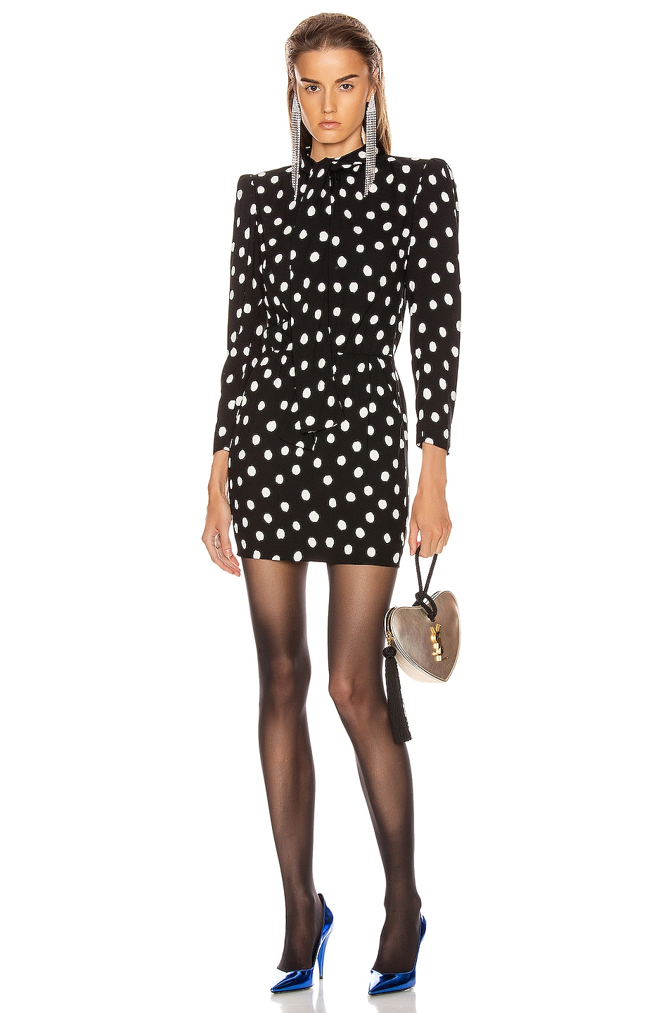 Image 1 of Saint Laurent Long Sleeve Polka Dots Mini Dress in Black & White