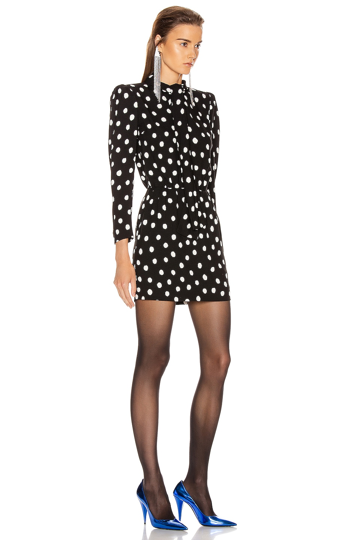 Image 2 of Saint Laurent Long Sleeve Polka Dots Mini Dress in Black & White