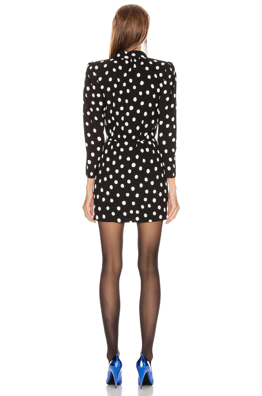 Image 3 of Saint Laurent Long Sleeve Polka Dots Mini Dress in Black & White