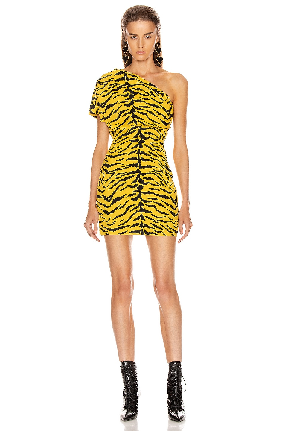 Image 1 of Saint Laurent One Shoulder Tiger Mini Dress in Yellow & Black