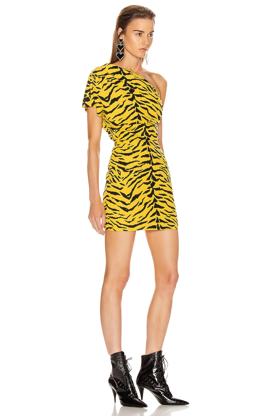 Image 2 of Saint Laurent One Shoulder Tiger Mini Dress in Yellow & Black