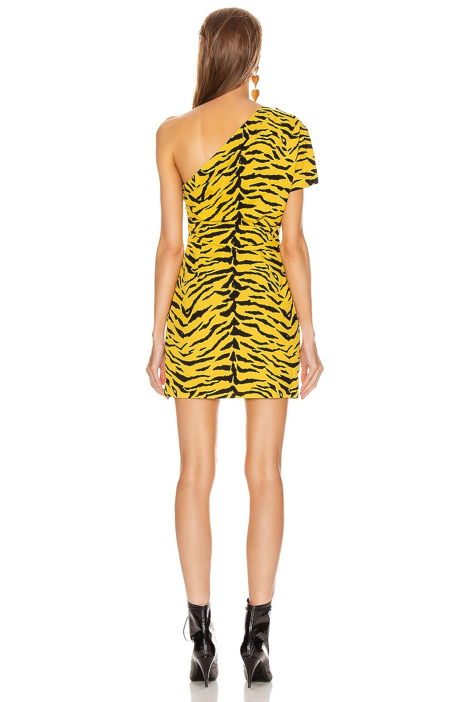 Image 4 of Saint Laurent One Shoulder Tiger Mini Dress in Yellow & Black