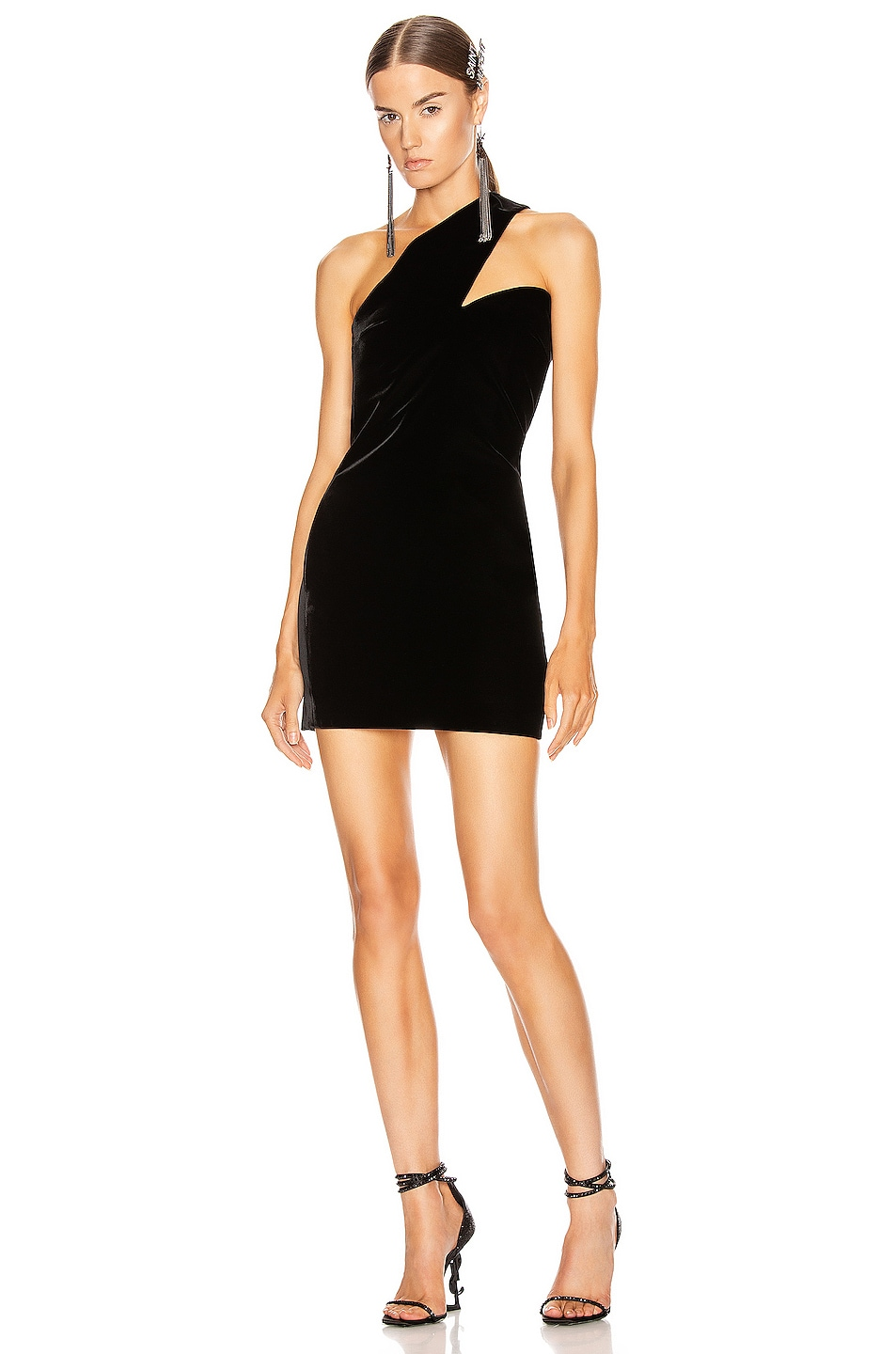 Image 1 of Saint Laurent One Shoulder Mini Dress in Black