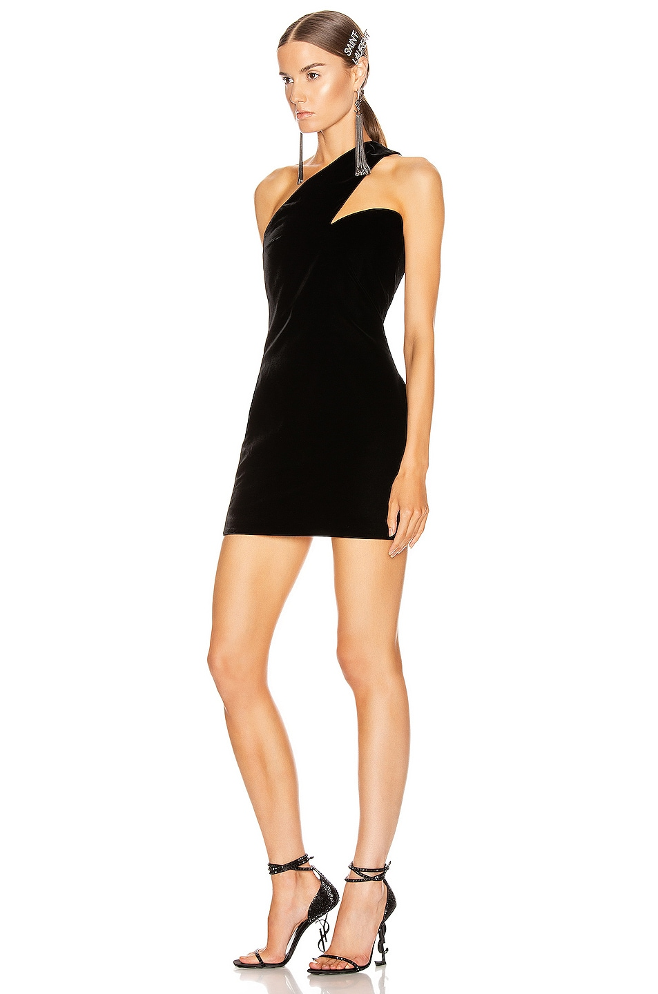 Image 3 of Saint Laurent One Shoulder Mini Dress in Black
