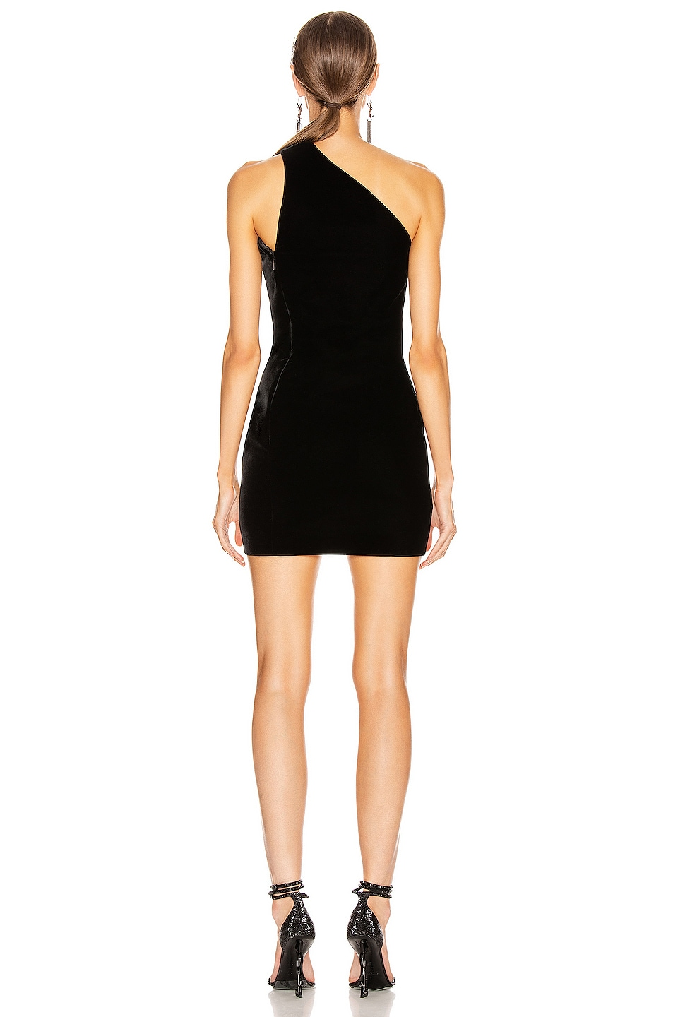 Image 4 of Saint Laurent One Shoulder Mini Dress in Black