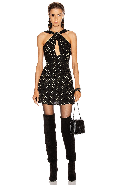 Image 1 of Saint Laurent Cutout Mini Dress in Black & Gold