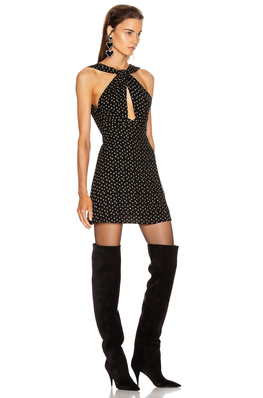 Image 2 of Saint Laurent Cutout Mini Dress in Black & Gold