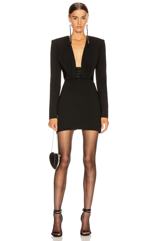 Image 1 of Saint Laurent Long Sleeve Open Back Mini Dress in Black