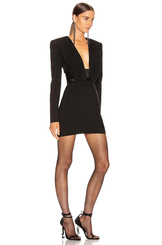 Image 2 of Saint Laurent Long Sleeve Open Back Mini Dress in Black