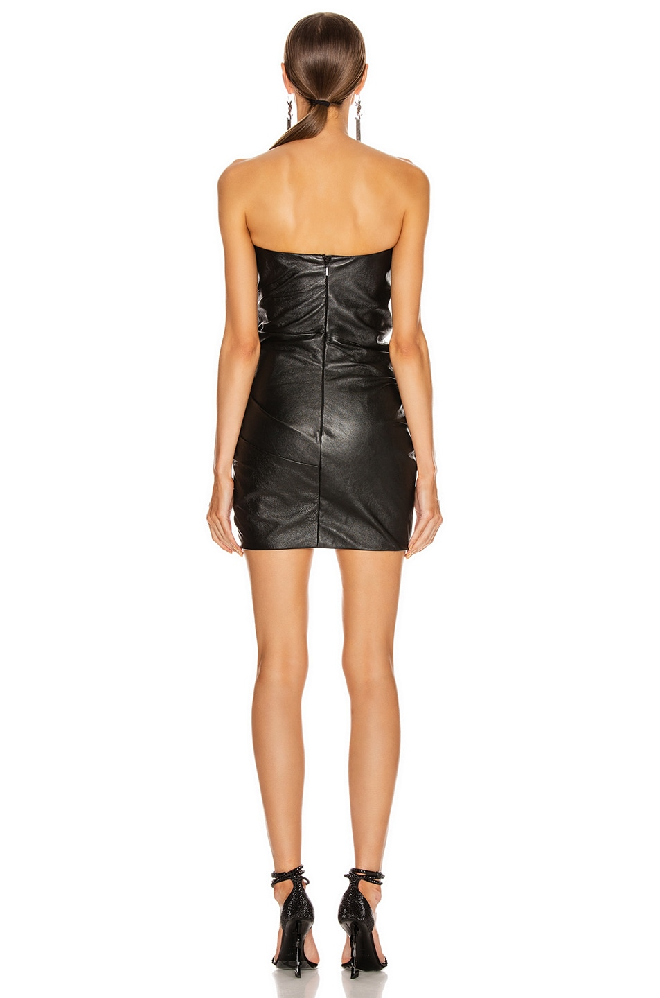 Image 4 of Saint Laurent Leather Bustier Mini Dress in Black