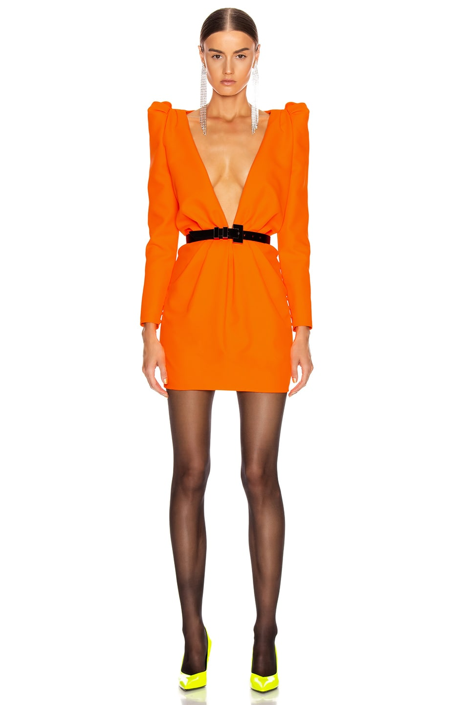 Image 1 of Saint Laurent Deep V Neck Long Sleeve Mini Dress in Mandarine Fluo