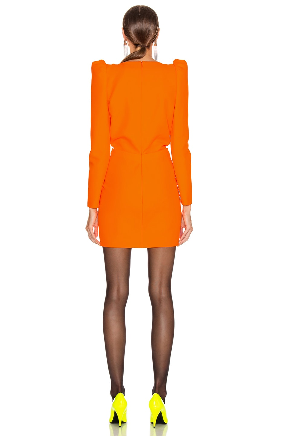 Image 3 of Saint Laurent Deep V Neck Long Sleeve Mini Dress in Mandarine Fluo