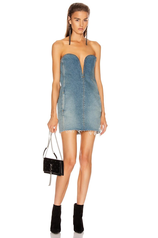 Image 1 of Saint Laurent Bustier Denim Dress in Arizona Light Blue