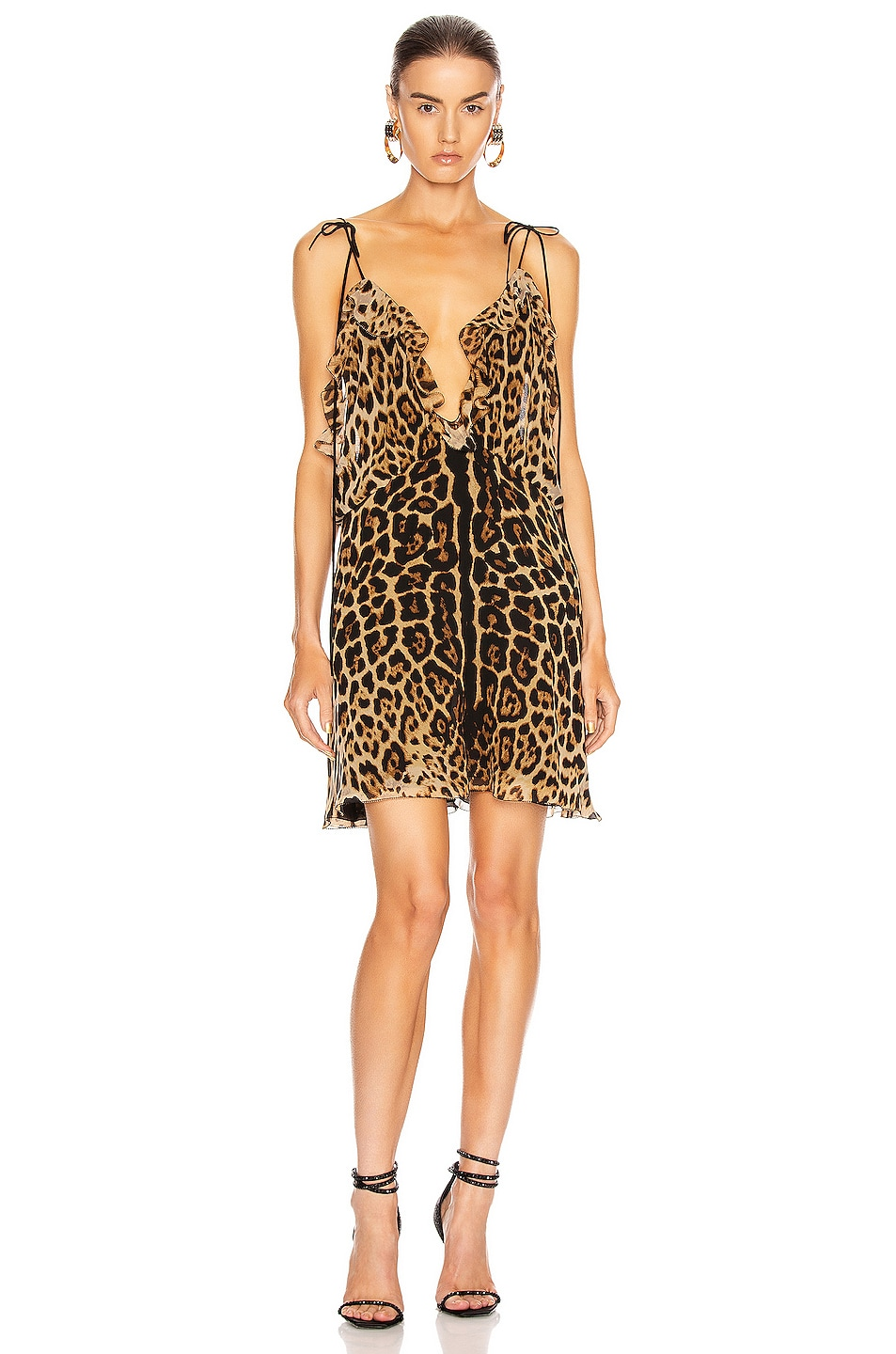 Image 1 of Saint Laurent Plunging Mini Dress in Leopard