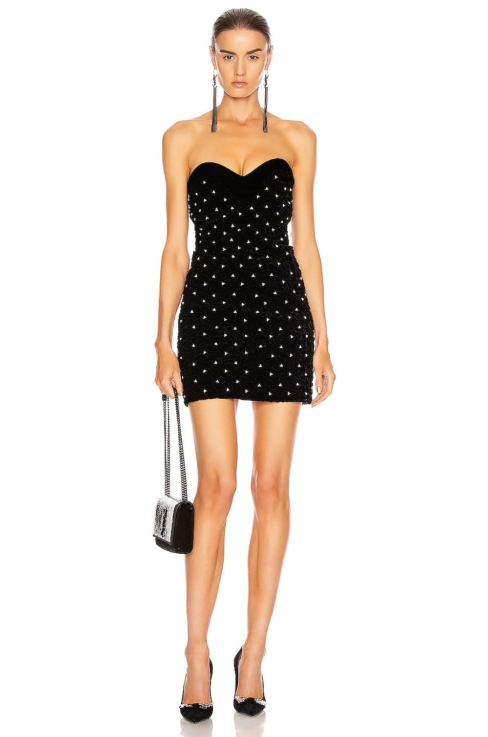 Image 1 of Saint Laurent Sweetheart Mini Dress in Black