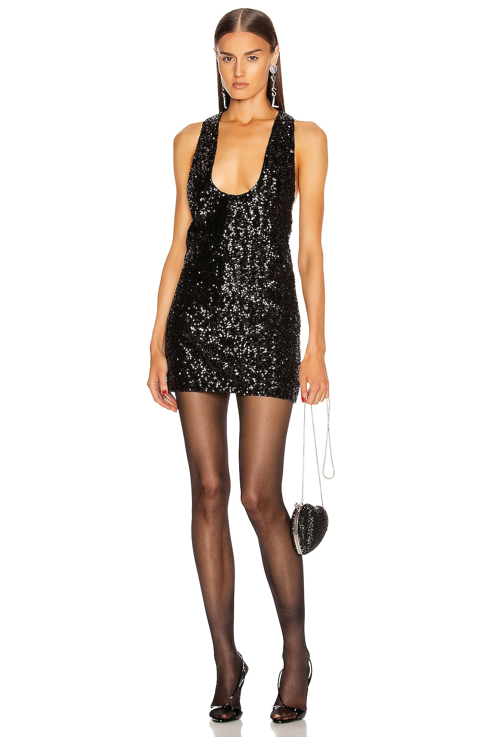 Image 2 of Saint Laurent Sequin Mini Dress in Black