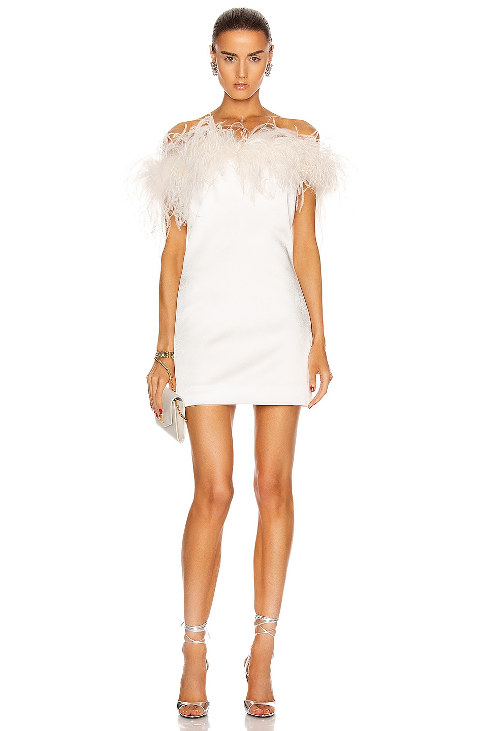 Image 1 of Saint Laurent Feathers Mini Dress in White