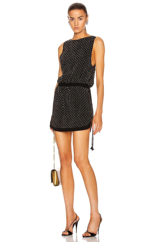 Image 1 of Saint Laurent Sleeveless Mini Dress in Black & Gold