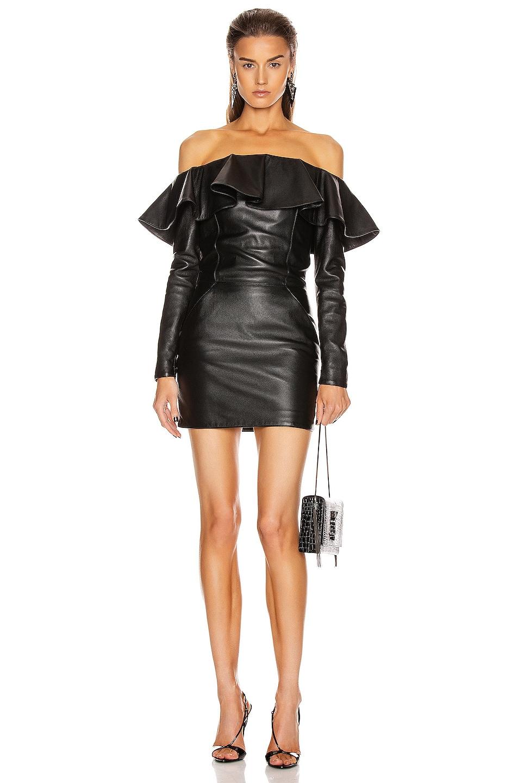 Image 1 of Saint Laurent Leather Mini Dress in Black