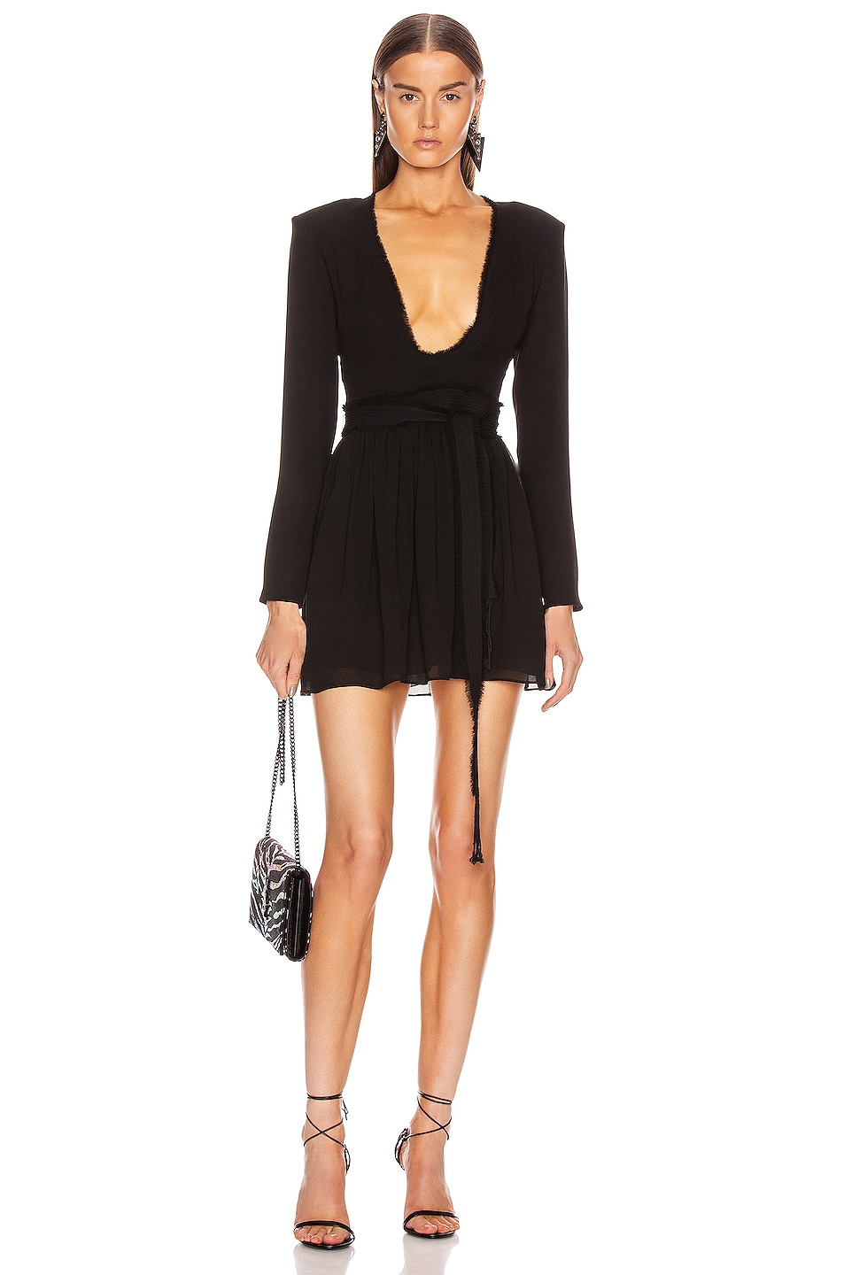 Image 1 of Saint Laurent Plunging Long Sleeve Mini Dress in Black