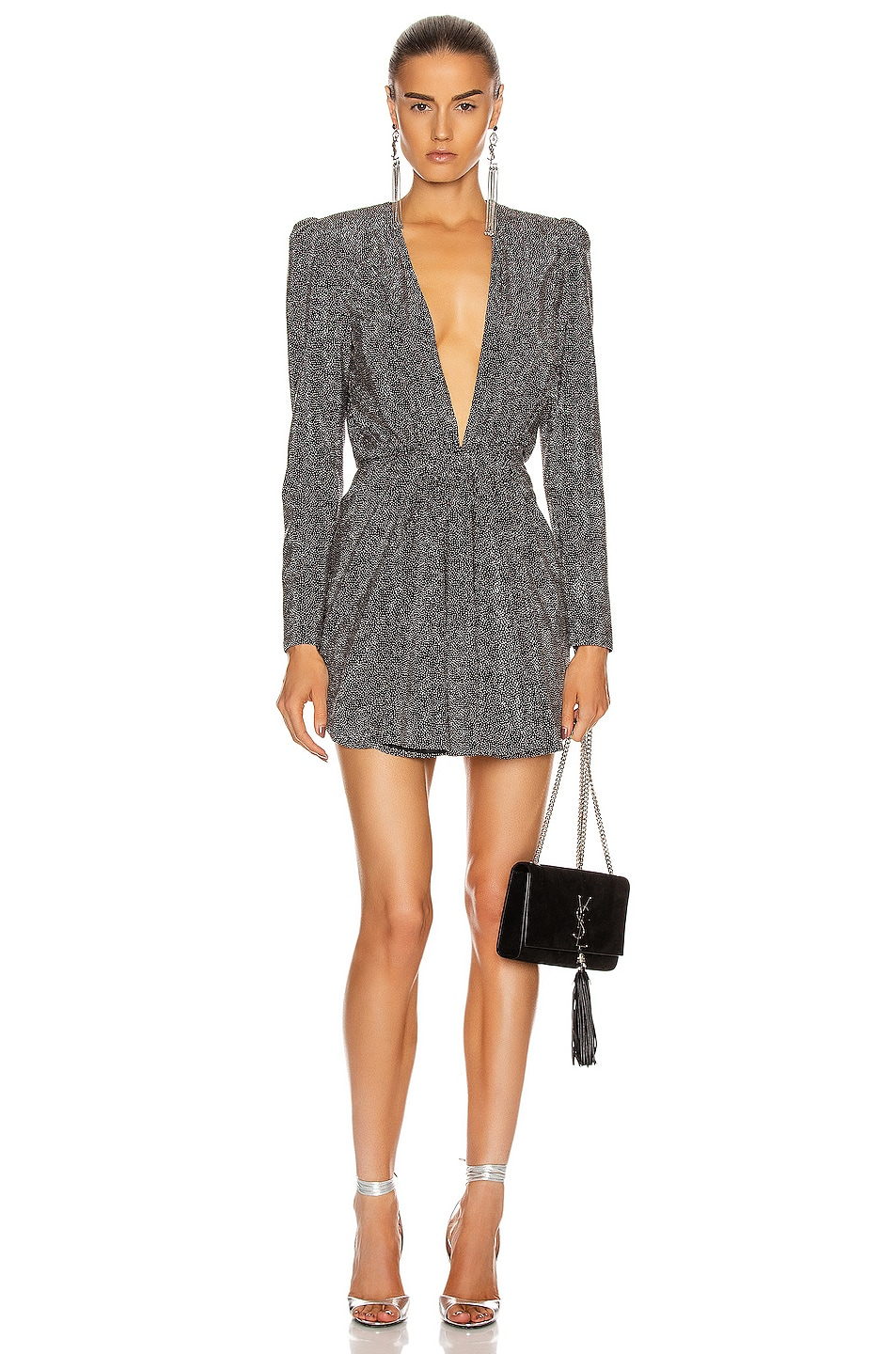 Image 1 of Saint Laurent Long Sleeve Mini Dress in Black & Silver