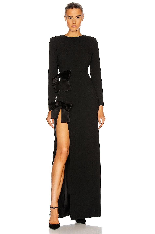 Image 1 of Saint Laurent Long Sleeve Slit Dress in Noir