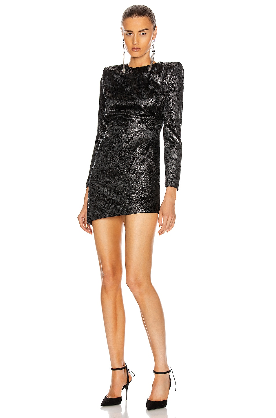 Image 1 of Saint Laurent Long Sleeve Mini Dress in Noir Brilliant