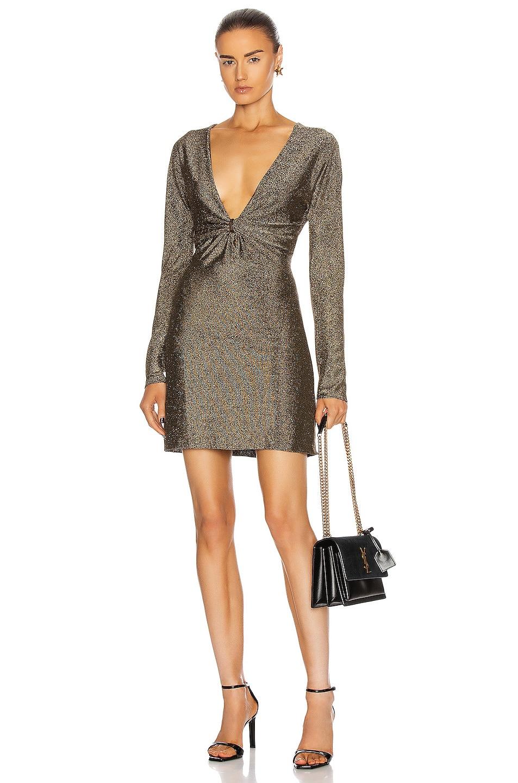 Image 1 of Saint Laurent Long Sleeve Mini Dress in Noir & Doree