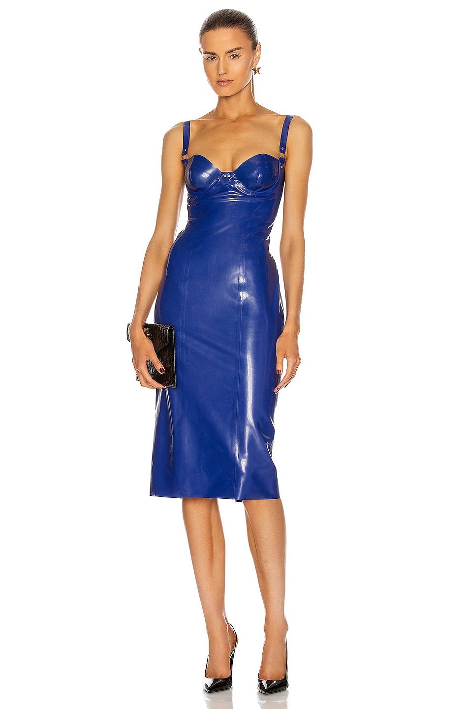 Image 1 of Saint Laurent Latex Bustier Midi Dress in Royal Blue