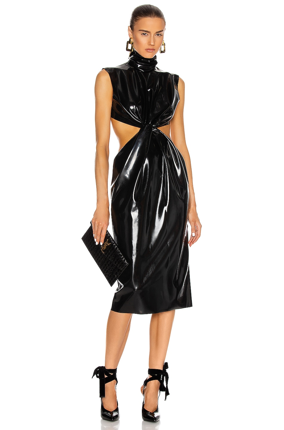 Image 1 of Saint Laurent Latex Cutout Midi Dress in Noir