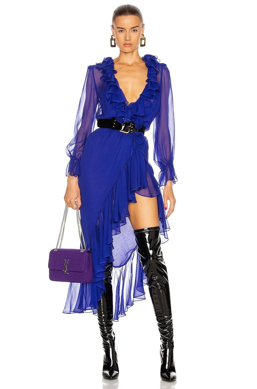 Image 1 of Saint Laurent Long Sleeve Slit Dress in Royal Blue