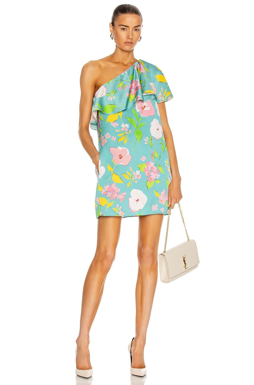 Image 1 of Saint Laurent One Shoulder Mini Dress in Blue Rose