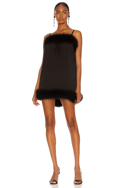 Image 1 of Saint Laurent Feather Mini Dress in Noir