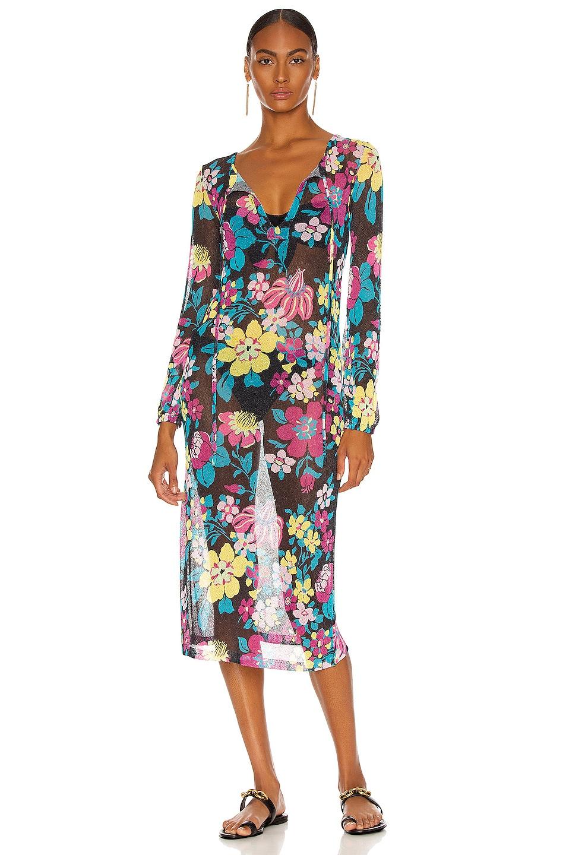 Image 1 of Saint Laurent Long Robe Dress in Noir & Multicolor